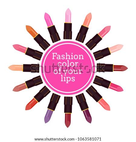 template poster palette colors lipstick lips stock illustration
