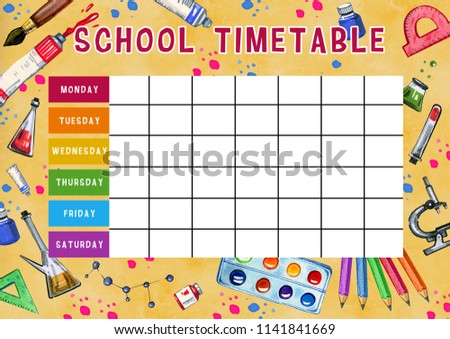 Cl Timetable Template | Template School Timetable Days Week Free Stock Illustration