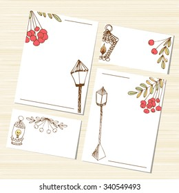 Template. Set. Congratulations, wedding invitation, background, banner, card. Lantern and rowan. Abstract. Sketch.