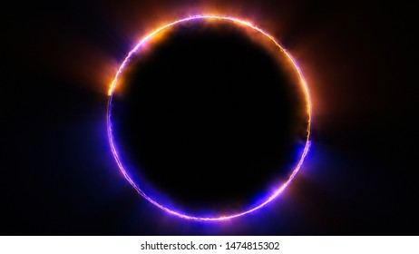Template for text : Blue and orange neon glowing glare circle with rays. Frame isolated on black background