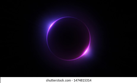 Template for text : Blue and purple neon glowing glare circle with rays. Frame isolated on black background