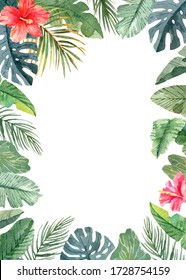 Template for wedding and birthday cards and posters with tropical leaves and flowers. Frame with exotic plants. Watercolor hand drawn illustration. Isolated on white background