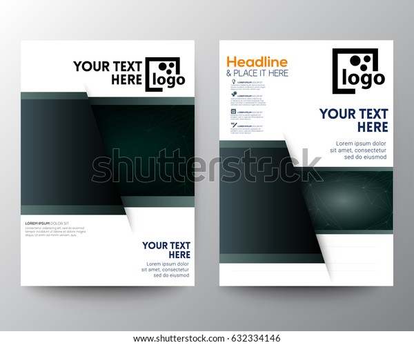 Templates for brochure, magazine, flyer, booklet. Cover design template, easy editable flat layout in A4 size. dark rictangle in shadow