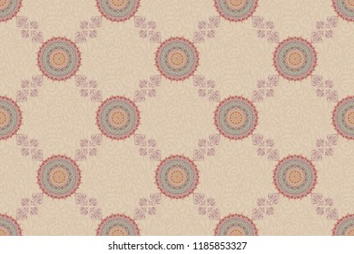 Templates for carpets, textiles, wallpaper and any surface. Raster seamless pattern of beige, red and gray ornament. Oriental, ornament.