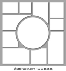 Templates collage eleven frames, photos, parts pictures, illustrations
