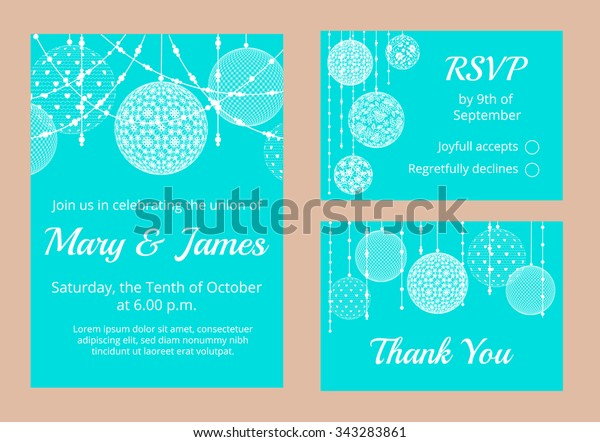 Templates Wedding Invitation Cards Lace Baubles Stock