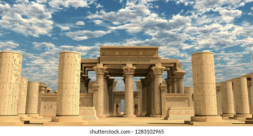 Temple of Ancient Pharaohs 3D illustration - A temple from the Egyptian Old Kingdom full of statues of ancient gods and hieroglyphs on columns.