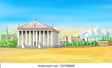 Temple of Artemis in a sunny day. Digital Painting Background, Illustration in cartoon style character.