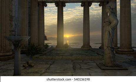 Temple of Athena, 3d illustration