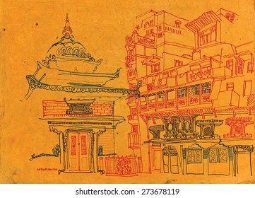 A temple in a courtyard in old Kathmandu, Nepal, before earthquake. Travel sketch on natural textured Nepalese paper. Quick hand drawing made with markers