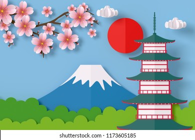 The temple has the sun behind it and has a view of Fuji mountain and beautiful Sakura in japan. paper craft style 3d rendering with clipping path.