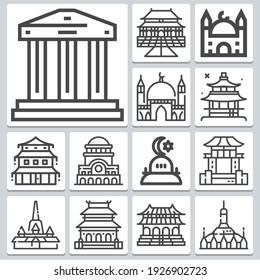 Temples icons set ? simple set of 13  includes antim, temple, shwezigon pagoda, mosque, wat phra kaew, japan, landmark, buildings symbols