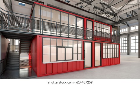 Temporary offices built from shipping containers , 3d rendering