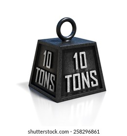 ten 10 ton weight isolated on white background