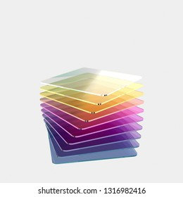 Ten colored glass or plastic or polymer square sheets with rounded corners. Color grade from blue to purple and yellow. Layers of transparent dielectric material. 3d rendering, digital illustration