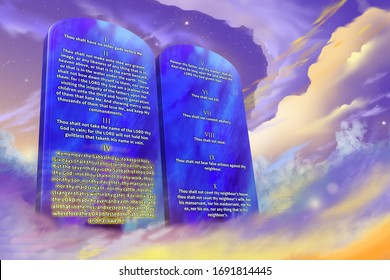 The Ten Commandments of the Christian religion with glowing text, clouds background, prophetic illustration 3d rendering