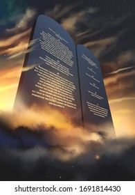 The Ten Commandments glowing on stone tablets in English language, 3d rendering illustration