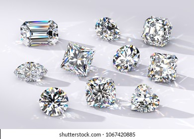 Ten diamonds of the most popular  shapes on white background, caustics rays, shadows. Round, princess, radiant, heart, emerald, pear, oval, cushion, asscher. 3D rendering illustration