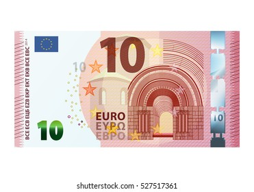 Ten euro banknote 2014 isolated on white background