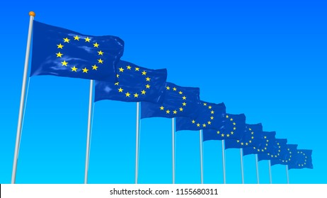 Ten flags of the European Union develops in the wind on a blue gradient background in a perspective with a fog.