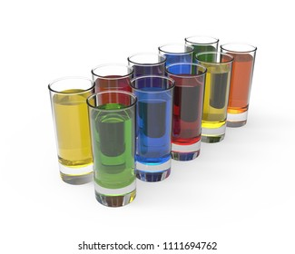 Ten glasses with different color liquids on white background with reflections and shadows. 3d render