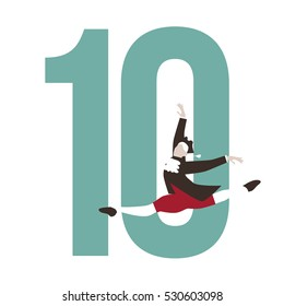 Ten lords a leaping Christmas illustration.