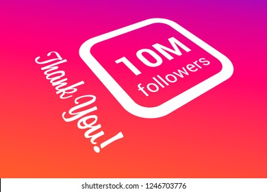 Ten Million Followers, 10000000, 10M, Thank You, Number, Colored Background, Concept Image, 3D Illustration