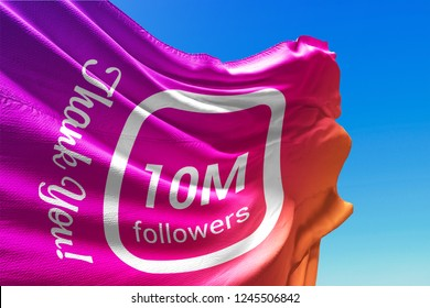 Ten Million Followers, Flag Waving, Thank You, Number, 10000000, 10M, Colored Background, Blue Sky, Concept Image, 3D Illustration