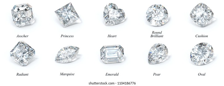 Ten the most popular diamond cut styles with names on white background. 3D rendering illustration