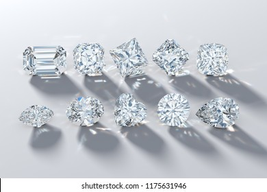 Ten the most popular diamond cut shapes on white background, rear light, shadow, caustics. 3D illustration