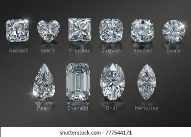 Ten the most popular diamond cut styles with names on black glossy background. Close-up top view. 3D rendering illustration