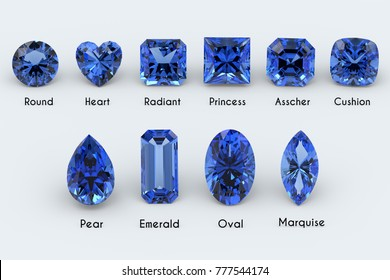 Ten the most popular diamond cut styles with names. Deep blue sapphire gems on white background. Close-up top view. 3D rendering illustration