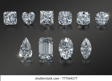 Ten the most popular diamond cut styles on black glossy background. Close-up top view. 3D rendering illustration