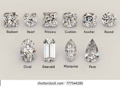 Ten the most popular diamond cut styles with names on white background. Close-up top view. 3D rendering illustration