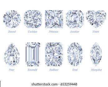Ten the most popular diamond cuts and shapes isolated on white background with names. 3d rendering illustration. Top view.