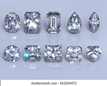 Ten  the most popular diamond cuts and shapes, sparkling gems on blue mirror background. Photo-realistic 3d rendering illustration.