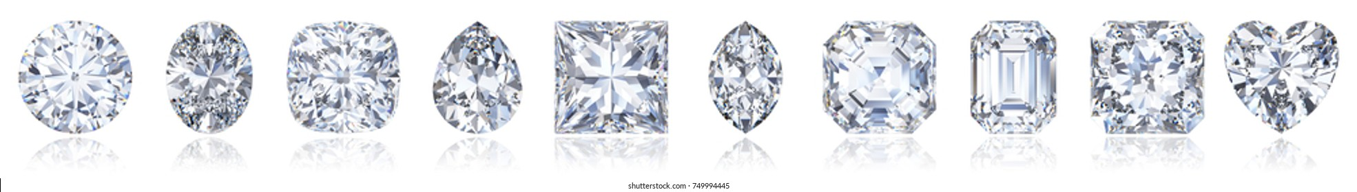 Ten the most popular diamond cuts and shapes in one row with light reflections, isolated on white background. 3D rendering illustration