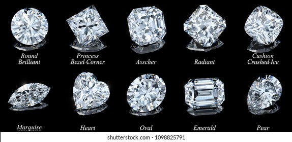 Ten the most popular diamond shapes with names on black glossy background. 3D rendering illustration