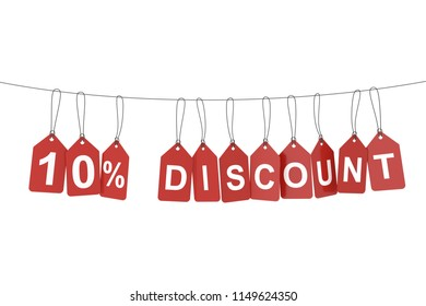 Ten percent discount tag. 3D rendering.