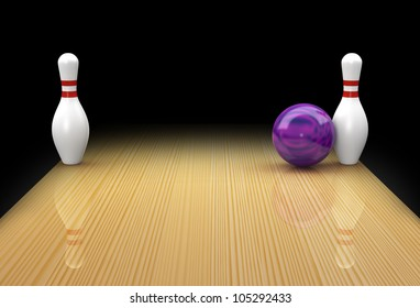 Ten pin bowling lane with mauve ball in action picking up a Bed Posts or Snake Eyes spare on black background