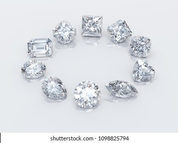 Ten popular diamond shapes on white background. 3D rendering illustration