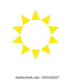 Ten sides decagon pointed star logo yellow sun template