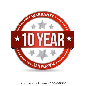 ten year warranty seal illustration design over white