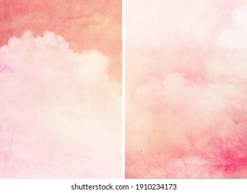 Tender color sky with clouds in two backgrounds. Watercolor