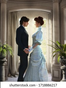 Tender lovers holding hands, looking in each others eyes, young couple, man and woman in Edwardian Victorian stylish costumes, book cover template, 3d render illustration.