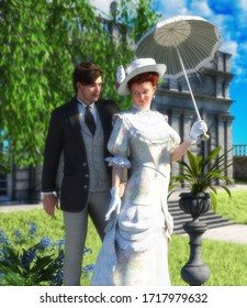 Tender lovers out for a walk, young couple, man and woman in Edwardian Victorian stylish costumes, in a park on a sunny day, book cover template, 3d render illustration.