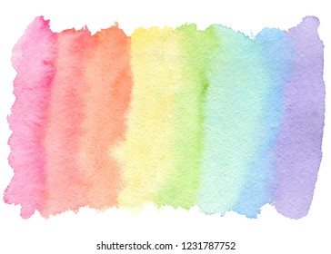 Tender rainbow colors watercolor blob, wash technique. Colorful horizontal gradient stain for lgbt design, isolated on white background