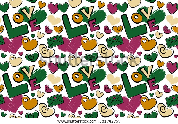 Tender raster seamless pattern with hearts and love text in green, yellow and purple colors on a white. Cute romantic girlish repeated backdrop for fashion clothes, wrapping paper.