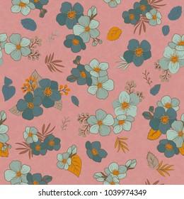 Tender seamless pattern of the flowers in vintage style, spring, cherry, apple tree in bloom .  Floral Pattern. Summer and Spring.  botanical seamless pattern   with hand drawn flower in vintage style
