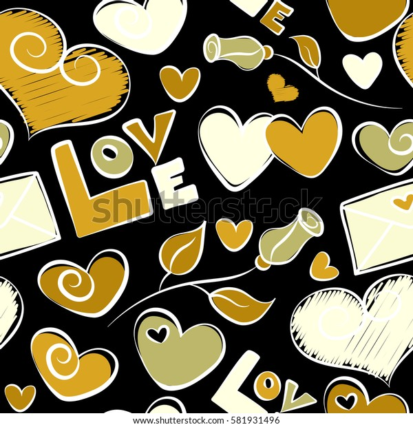 Tender seamless pattern with hearts, flower and love. Valentines day backdrop. Cute romantic girlish repeated backdrop for fashion clothes. Abstract seamless love pattern in beige colors on a black.